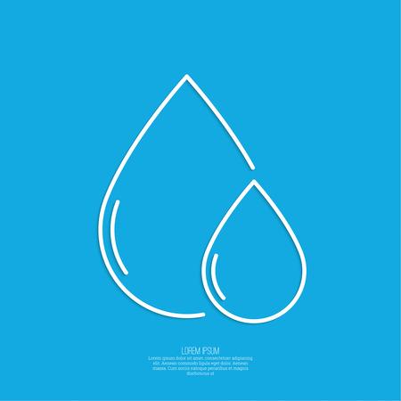 rain drop: Falling drop of water on a blue background. Liquid water, oil, rain. minimal. Outline Illustration