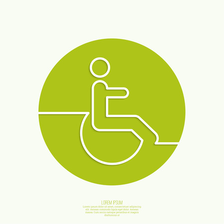 capacity: Symbol man on the wheelchair. Limited capacity, parking, toilet for the disabled. minimal. Outline Illustration