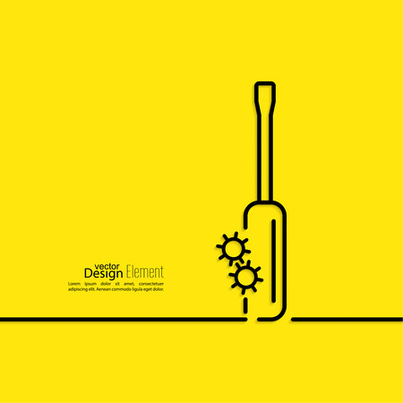 rebuild: Screwdriver with gears. bolt.  Assembly and restoration. The concept of repair, setup, support. minimal. Outline.