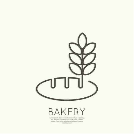 A loaf of bread and wheat ears. Sign, emblem, badge, banner for confectionery, bakery. concept of fresh baking. minimal. Outline. Vector