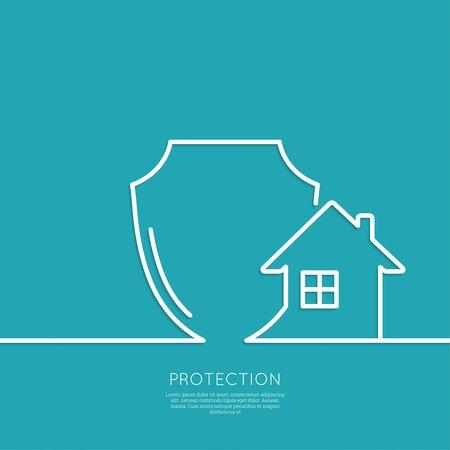 protección: Casa bajo protecci�n. s�mbolo escudo. Protecci�n y defensa. m�nima. Esquema. Vectores