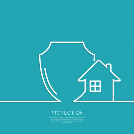home protection: House under protection. shield symbol. Protection and defense. minimal. Outline. Illustration