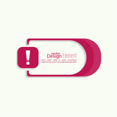 error message: Exclamation mark icon. Attention sign icon. Hazard warning symbol in red background. Vector banner Illustration