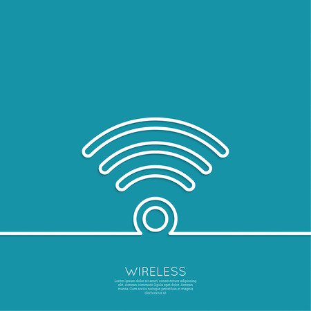 Vector wireless and wifi icons for remote access and communication. Outline. minimal.