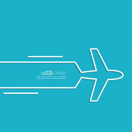 Icon airplane and banner for text. speed airlines.  Outline. minimal.