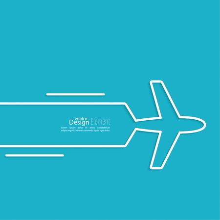 to fly: Icono del aeroplano y bandera para el texto. aerol�neas velocidad. Esquema. m�nima.
