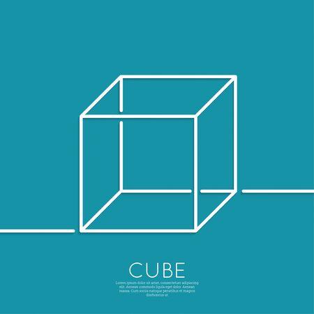 foursquare: 3d cube on a blue background. geometric figure. Outline. minimal. Illustration