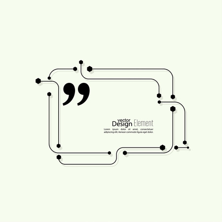 messenger: Vector abstract background. Quotation Mark Speech Bubble. Quote sign icon. techno design Illustration