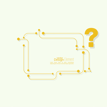 questionail: Icono de signo de interrogaci�n. S�mbolo de Ayuda. FAQ signo sobre un fondo amarillo. vector. dise�o tecno Vectores