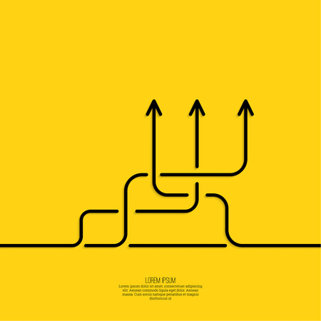 toma de decision: Fondo abstracto del vector con signo flecha de dirección. El concepto de la toma de decisiones de pie en cruce de carreteras. Movimiento en una dirección desconocida. elección incertidumbre