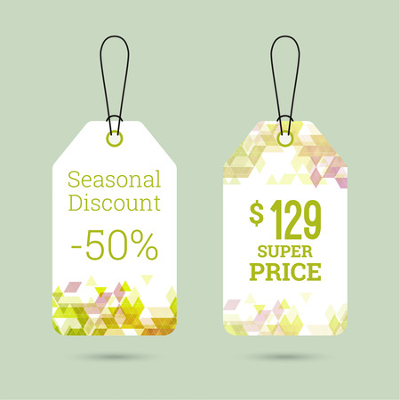 pricetag: Set price tag with color triangle and labels. special offer, discount and percentages, price. spring banner
