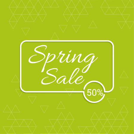 pricetag: spring banner. special offer, discount and percentages, price. Green abstract background with triangles