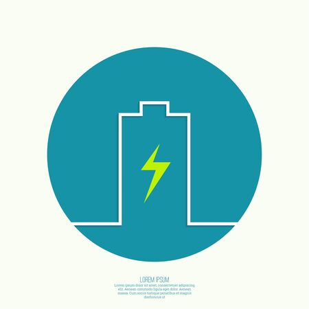 mobile phone: The battery icon on the charge. minimal. Outline. for mobile applications