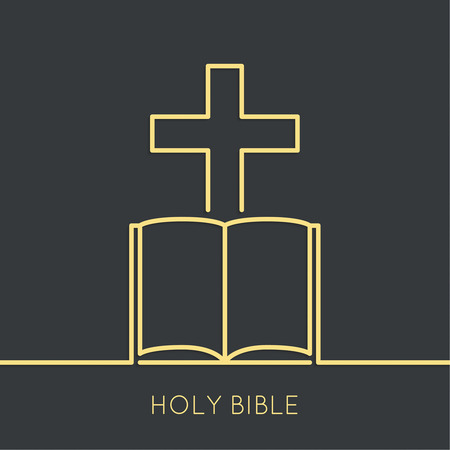 open bible: Open Bible with a crucifix. Symbols of Christianity and forgiveness. minimal. Outline.