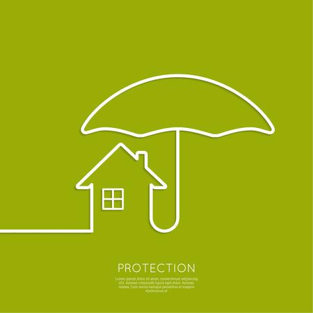 Symbool van het huis onder de bescherming van een paraplu. Verzekeringen, goede investering, een veilig thuis. minimaal. Outline. Stock Illustratie