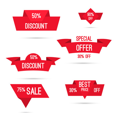 25 to 30: Set tags with ribbons and labels. special offer, discount and percentages, price, 25, 30, 75  banner Illustration
