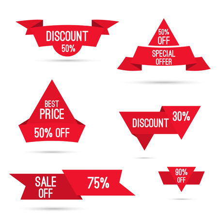 25 30: Set tags with ribbons and labels. special offer, discount and percentages, price, 25, 30, 75 banner