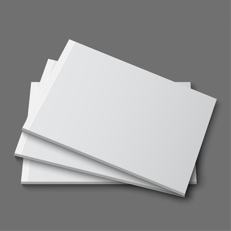 blank magazine: Blank empty magazine, album or book template lying on a gray background. vector Illustration