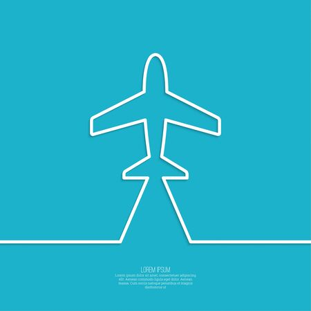 runway: Icon airplane and banner for text. Outline. minimal.