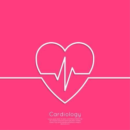 medical center: Cardiogram with heart. icon Cardiology Medical Center. Outline. minimal. red Illustration