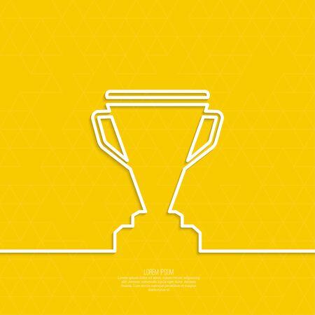 ganador: Copa de Oro del ganador sobre un pedestal. Resumen de fondo con triángulos. mínima. Contorno Vectores