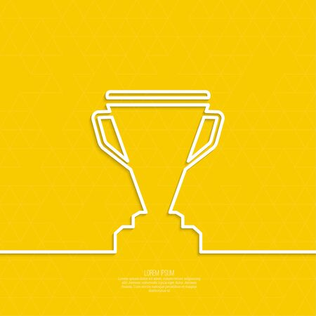 acknowledgment: Gold cup of the winner on a pedestal. Abstract background with triangles.  minimal. Outline Illustration