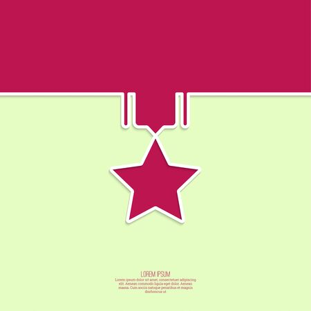 acknowledgment: Reward in the form of a medal with a star on a red armband. minimal. Outline