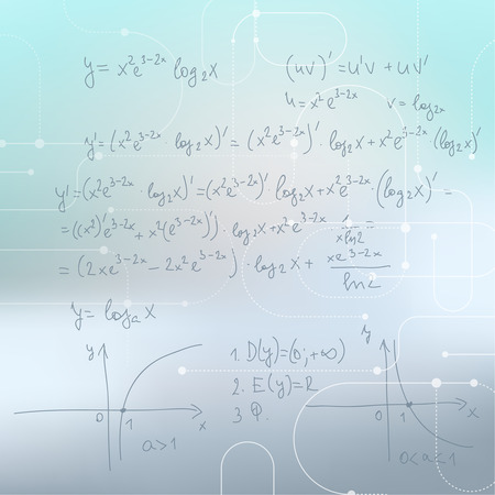 calculations: Abstract Blurred Background with mathematical formulas, calculations, graphs, proof and scientific research.