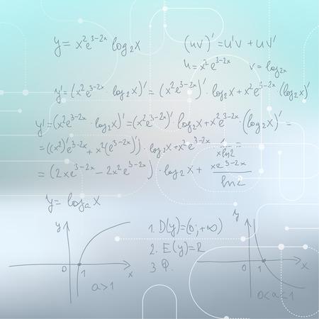 teorema: Fondo enmascarado abstracto con fórmulas matemáticas, cálculos, gráficos, la prueba y la investigación científica.