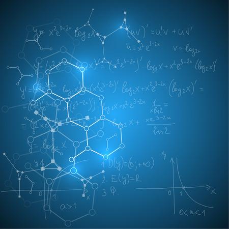 Résumé de fond avec des formules mathématiques, des calculs, des graphiques, la preuve, la structure de la molécule d'ADN et la recherche scientifique .. composés génétiques et chimiques