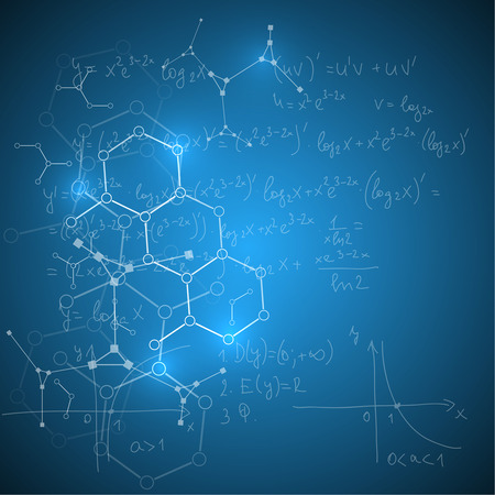 Abstract Background with mathematical formulas, calculations, graphs, proof, DNA molecule structure and scientific research.. genetic and chemical compounds