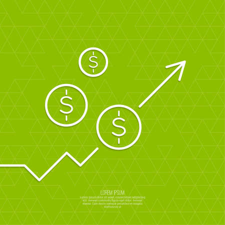emolument: The graph shows the growth and profit. Income from a successful investment. Bank asset growth through profitable investments. green background. dollar sign Illustration