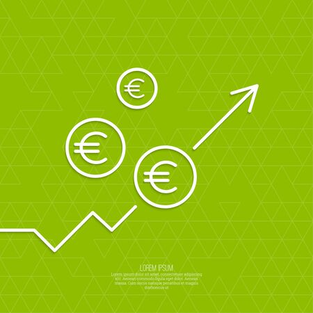 The graph shows the growth and profit. Income from a successful investment. Bank asset growth through profitable investments. green background. euro symbol