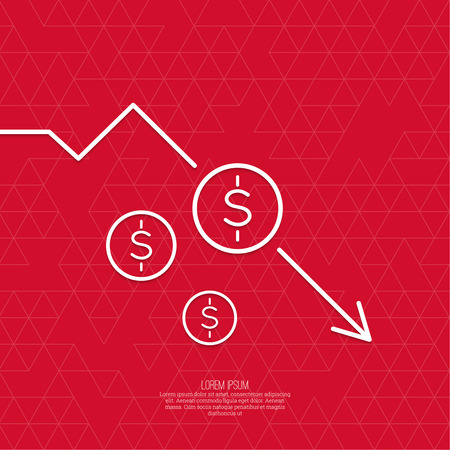decline: The graph shows the fall and profits decline. Loss of points Currency. Falling through asset outflows. Red background. dollar symbol. minimal. Outline. Illustration