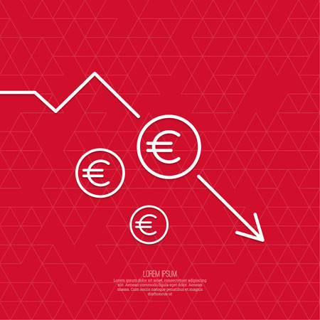 The graph shows the fall and profits decline. Loss of points Currency. Falling through asset outflows. Red background. euro symbol. minimal. Outline. Illustration
