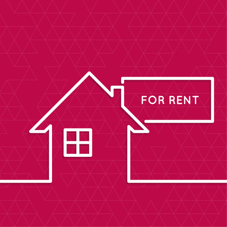 House with a sign for rent. Rental housing. real estate logo. red background. minimal. Outline. Ilustração