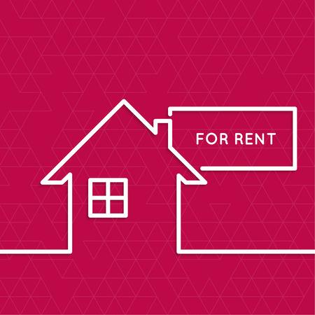 Huis met een teken voor huur. Huurwoningen. vastgoed logo. rode achtergrond. minimaal. Schets.