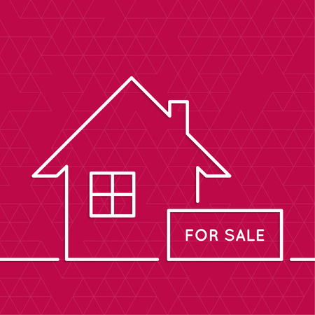 abode: House with a sign for sale. Rental housing. real estate logo. red. minimal. Outline.