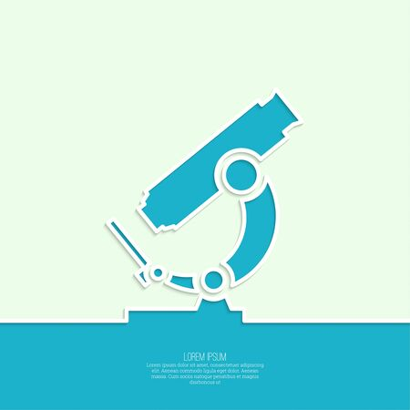 Icon microscope. Scientific research and lab bioprospecting microbes. minimal. Outline.