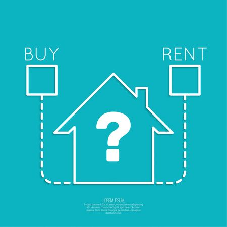 renter: Concept of choice between buying and tenancy. Symbol home with checkboxes and question. Illustration