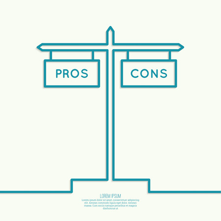 cons: Pros and Cons list. Selection of the optimal solutions, weighing the facts.