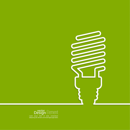 light green: Energy saving fluorescent light bulb icon. concept of big ideas inspiration innovation, invention, effective thinking. text. minimal. Outline.
