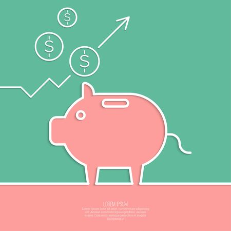 growth enhancement: Icon Pig piggy bank. Symbol of conservation and enhancement funds. The graph shows the growth and profit.