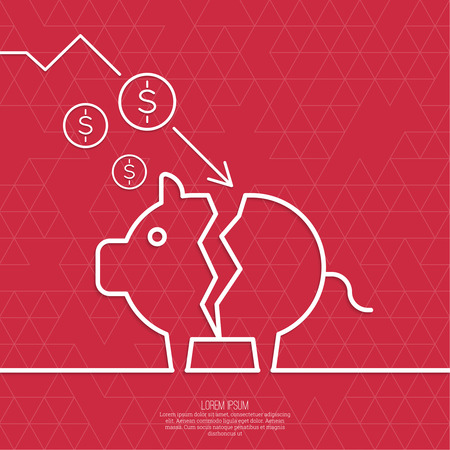 broken through: Broken pig piggy bank. Symbol of bankruptcy.  Loss of points Currency. Falling through asset outflows. Red background. dollar symbol. minimal. Outline. Illustration