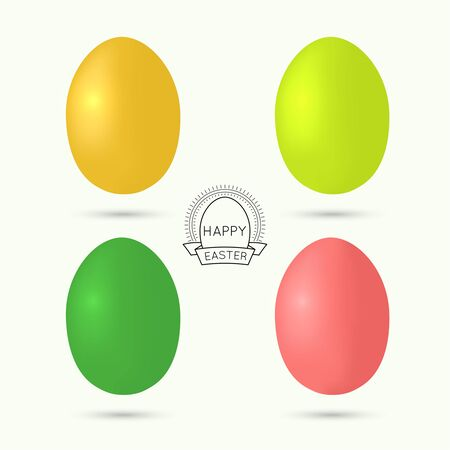 Set of colorful Easter eggs. Deco vintage emblem with eggs sun rays and ribbon. Vector