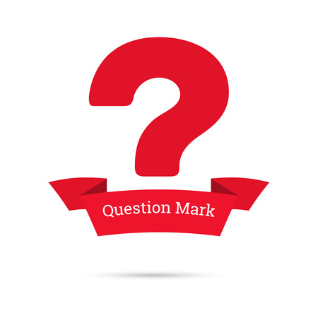 questionail: Question mark icon. Help symbol. FAQ sign. Banner of the ribbon. vector