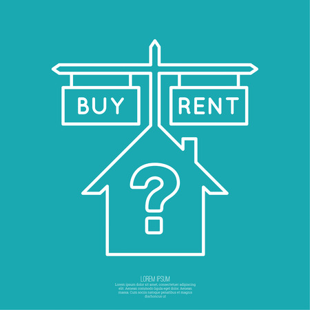 buying questions: Concept of choice between buying and tenancy. House symbol with pointers and the question