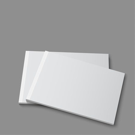 booklet: Blank empty magazine, album or book template lying on a gray background. vector Illustration