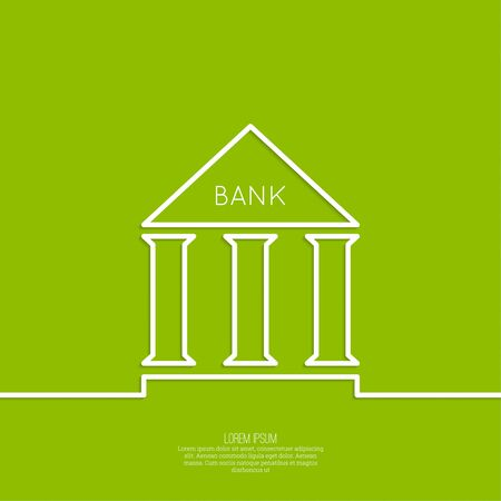 Bank building with columns on a green background. The concept of financial institutions, preservation and augmentation of money Illustration