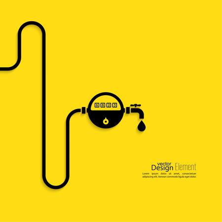 agua grifo: Pipeline con el medidor de agua, gas, gasolina, queroseno. Diseño plano. Concepto de ahorro de recursos.
